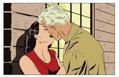 爱恋夫妇亲吻 减速火箭的样式流行艺术的人们 向量例证