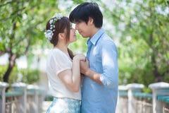 爱恋的亚洲夫妇在树下 免版税库存照片