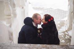 爱恋的夫妇、新郎和新娘,在街道上的亲吻在冬天 免版税库存照片