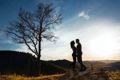 爱恋的夫妇剪影在日落的 库存照片
