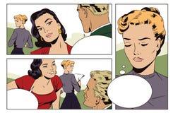 爱恋的夫妇在办公室 少妇是嫉妒的 皇族释放例证