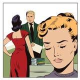 爱恋的夫妇在办公室 少妇是嫉妒的 向量例证