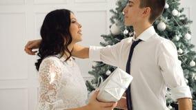 爱恋的夫妇少年和圣诞节 股票录像