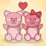 爱恋的夫妇猪动物婴孩心脏装饰 向量例证