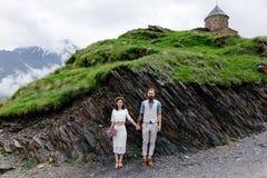 爱恋的夫妇,婚姻在乔治亚 免版税库存照片