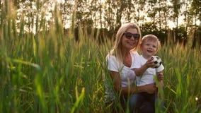 爱恋的拥抱和使用与在一个领域的一个足球的妈妈和儿子与在美好的日落光的小尖峰在白色t 股票视频
