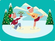 爱恋的猪在溜冰场滑冰 向量例证