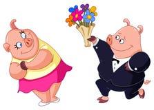 爱恋的猪 库存例证