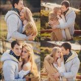 爱恋的年轻夫妇在秋天在村庄 库存图片