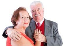 爱恋的年长华伦泰夫妇 库存照片