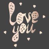 爱您与心脏的词组 免版税图库摄影