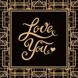 爱您与艺术装饰样式框架的手拉的字法 库存图片