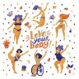 爱您的与跳舞妇女的身体海报比基尼泳装的 库存照片