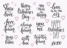 爱情人节行情印刷术集合 向量例证