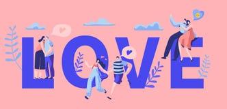 爱情故事夫妇字符刺激印刷术横幅 愉快的恋人拥抱,在长凳的亲吻 妇女人浪漫调情的人 库存例证