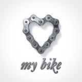 爱我的自行车心脏链子 库存图片