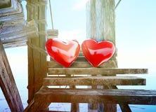 爱所有!在天空背景做的心脏标志  库存照片