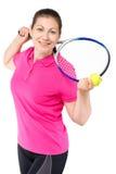 爱打网球一个女孩的画象 免版税图库摄影