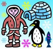 爱斯基摩、园屋顶的小屋、企鹅、鱼和雪花-例证 图库摄影