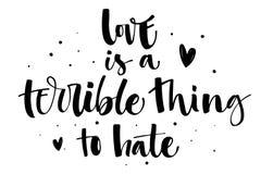 爱是恨的一件可怕的事 与心脏和小点装饰的同性恋自豪日被隔绝的简单的黑书法词组 向量例证