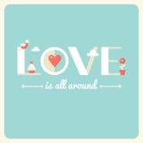 爱是所有在印刷术海报附近 平的设计 库存照片