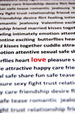 爱是所有这些词 库存照片