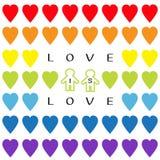 爱是爱文本 彩虹心脏集合 同性恋婚姻自豪感标志两塑造外形人标志无缝的样式 LGBT标志标志 白色bac 皇族释放例证