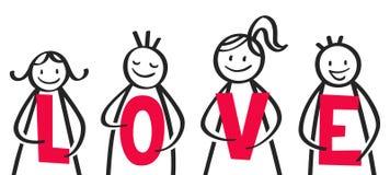 爱棍子人拿着红色信件的,小组人和妇女 向量例证
