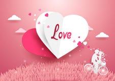 爱概念背景 飞行在草的白色和红色心脏 图库摄影