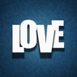 爱概念-在纺织品的纸信函 免版税库存照片