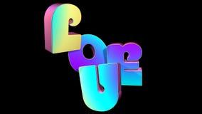 爱概念- 3D字体 免版税库存照片