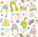爱模式无缝的冬天 库存图片