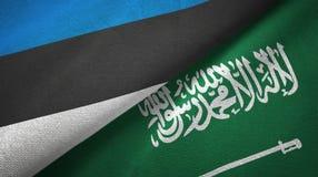 爱沙尼亚和沙特阿拉伯旗子纺织品布料 库存例证