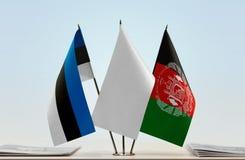 爱沙尼亚和阿富汗的旗子 图库摄影