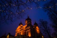 爱沙尼亚塔林 与照明设备的夜风景 亚历山大・涅夫斯基大教堂看法  著名正统大教堂是塔林的 免版税库存图片