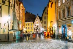 爱沙尼亚塔林 Vanaturu街在老镇的历史中心 免版税图库摄影