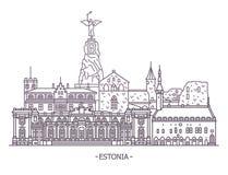 爱沙尼亚建筑学地标 库存例证