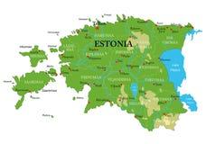 爱沙尼亚物理地图 库存例证