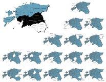 爱沙尼亚省地图 图库摄影