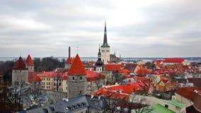 爱沙尼亚老塔林城镇视图 爱沙尼亚塔林 股票视频