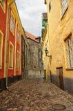爱沙尼亚老街道塔林 免版税库存图片