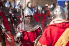 爱沙尼亚,塔林- 2016年6月04日, :老塔林杯国际历史剑战斗的比赛 库存图片