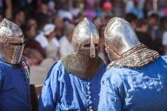 爱沙尼亚,塔林- 2016年6月04日, :老塔林杯国际历史剑战斗的比赛 免版税图库摄影