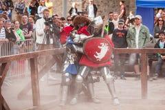 爱沙尼亚,塔林- 2016年6月04日, :老塔林杯国际历史剑战斗的比赛 库存照片