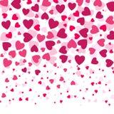 爱浪漫背景witn五颜六色的心脏,情人节样式, 向量例证