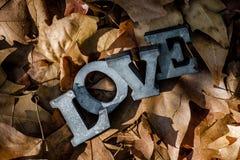 爱消息与金属信件的 免版税库存照片