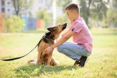 爱犬与室外的男孩的杂种护羊狗 免版税库存图片