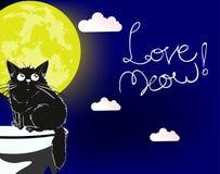 爱猫叫声 一只爱恋的逗人喜爱的猫 向量例证
