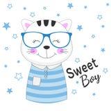 爱玻璃梦想的美丽的甜猫男孩  免版税图库摄影