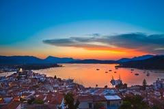 爱琴海五颜六色在海运日落 免版税库存图片